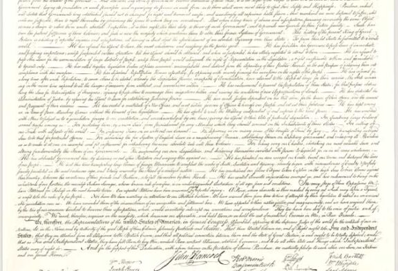 DECLARATION OF INDEPENDENCE transcribed from the original on display
